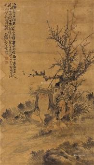 渔翁图 立轴(原裱略残) 纸本设色 by huang shen