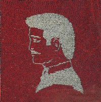 silver portrait on red 2 by farhad moshiri
