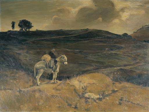 frate con somarello nel paesaggio collinare after lorenzo delleani by armando vaccari