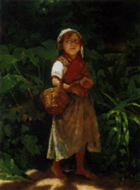 a mediterranean waif standing in the shade by achille boschi