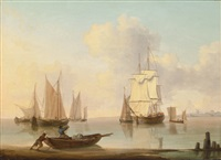 shipping in a calm sea off the coast by william anderson