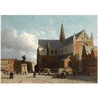 a view of the grote markt with the sint bavo cathedral, haarlem by jan weissenbruch
