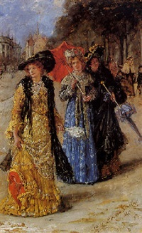 fashionable ladies on the promenade by stephen catterson smith the younger
