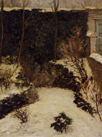 a snow-covered backyard by carel nicolaas storm van 's-gravensande