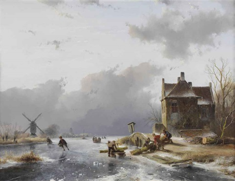 loggers transporting trunks on the ice by andreas schelfhout