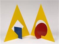 dominierendes dreieck über das quadrat. dominierendes dreieck über den kreis (2 works) by ingo glass