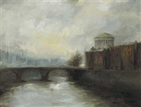 view of the four courts, dublin by leo earley