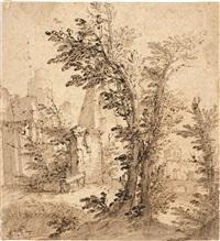 paesaggio con capriccio architettonico by mauro antonio (maurino) tesi
