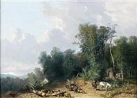 bûcherons à l'orée de la forêt by théophile victor emile lemmens