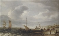the beech at egmond an zee with fishermen unloading their catch by hans (johan) goderis