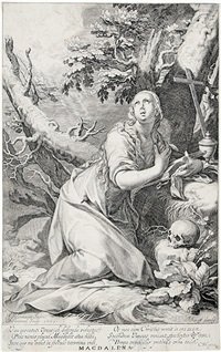magdalena, pl. 4 (from die sünder des alten und neuen testaments) (after abraham bloemaert) by willem isaaksz swanenburgh the elder