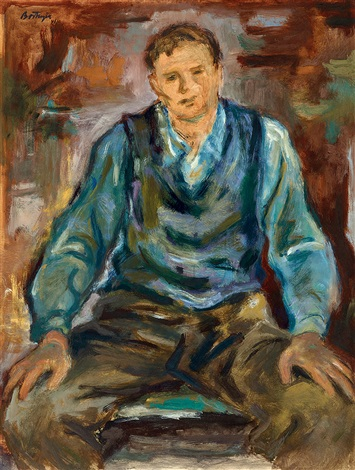 sitting boy on a chair by sándor bortnyik