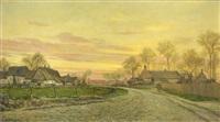 paisaje con casas by charles hubert