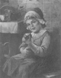little dutch girl eating an apple by adolf raufer