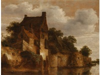 a fortified dwelling beside a river with figures in boats to the foreground by roelof van vries