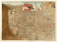 die einbringung des seeräubers störtebeker, 1401 (entwurf für den rathaussaal in hamburg) by friedrich geselschap