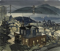 view of san francisco with the golden gate bridge in the distance by george booth post