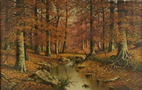 autumn landscape with stream by william mckendree snyder