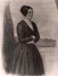 portrat einer stehenden dame in braunem kleid vor      landschaftshintergrund by josef zumsande