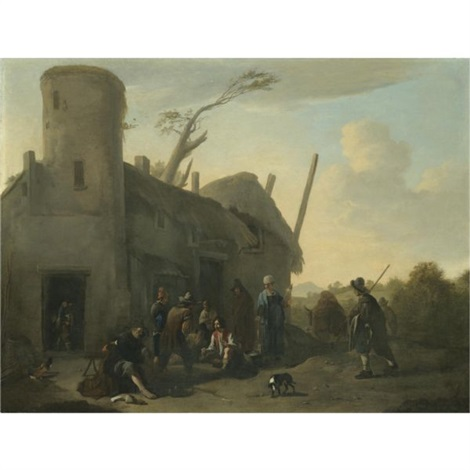 an outdoor scene with peasants gambling outside an inn by jan miel
