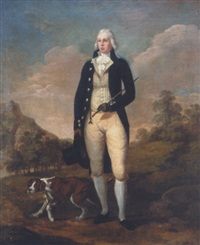 portrait of a gentleman standing with his pointer within a landscape by francis alleyne