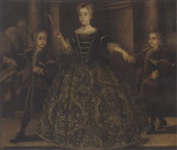 portrait of doña maria de montaner y canglada and her two sons, she in a green floral embroidered dress, a fan in her right hand, the boys in embroidered brown coats by jean ranc