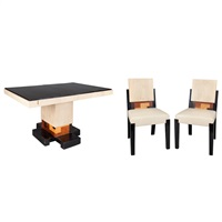 chairs (6 works) (+ dining table; 7 works) by michel dufet