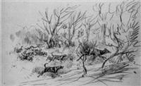 laisser-courre de chevreuils by pierre de la verteville