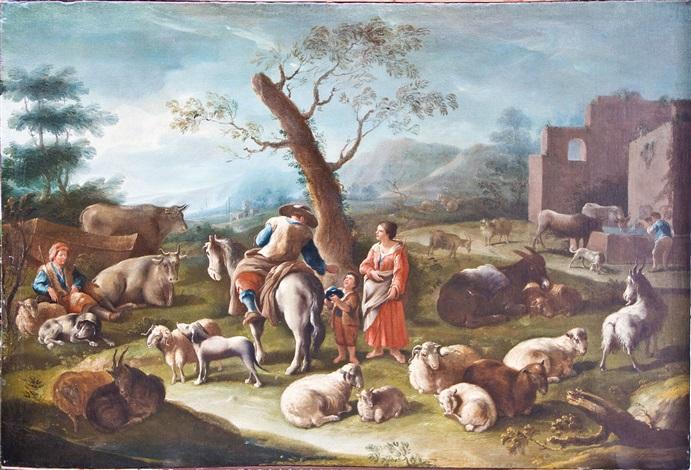 schäferfamilie mit weidenden schafen und ziegen by francesco londonio