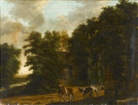 a wooded landscape with cattle on a path before a farmstead by salomon rombouts