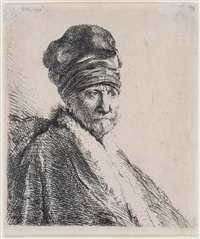 bust of a man wearing a high cap (the artist's father?) by rembrandt van rijn
