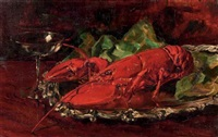 lobster on a silver tray by willem elisa roelofs