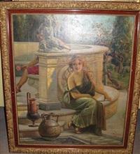 femme au pied d'une fontaine by emilio vasarri