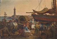 a busy mederranean port scene by johann baptiste heinefetter