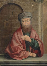portrait of a man, half-length, in green robes, a red cloak and a hat, before a stone ledge, a bild arch beyond by flemish school-brussels (16)