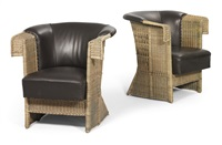 wicker chairs (pair) by hans vollmer