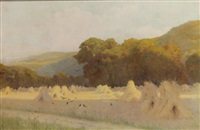 a summer evening: cornstalks in a field near downs by george marks