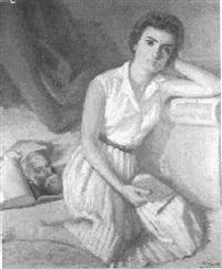 retrato de zenobia, esposa del poeta juan ramón jiménez releyendo a tagore by francisco martin fernandez