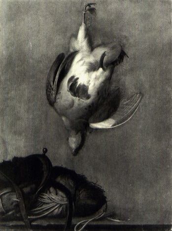 still life of a hanging game fowl, a hunting pouch and otherobjects on a ledge by johann-zacharias kneller
