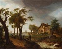 marine et paysage par un temps de pluie et de vent, vue de la ville et des environs de dordrecht by frans swagers