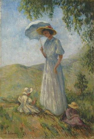 saint-tropez, femme et enfants au soleil by henri lebasque
