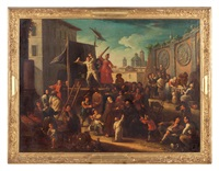 scena di mercato con commedia dell'arte by giovanni michele graneri