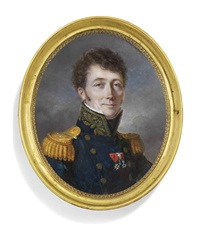 count théobald joseph gaspard d'hoffelize, in french military uniform, blue double-breasted coat with brass buttons, gold-embroidered collar by mansion