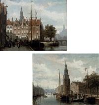 the montelsbaantoren, amsterdam (+ a view of the spaarne, haarlem; pair) by johannes frederik hulk the elder