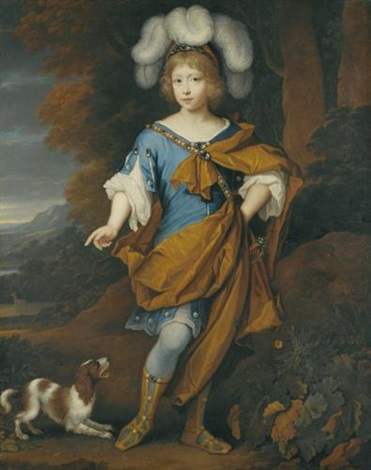 portrait of a boy aged 6 standing full length wearing blue costume with a yellow cloak by john van der vaart