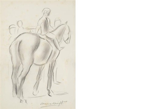 figure on a horse 2 others 3 works by dame laura knight