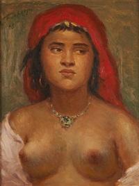 jeune orientale au buste dénudé by léonid frechkop