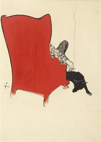 Lhomme Dans Son Fauteuil Rouge Et Le Chien By René Gruau On Artnet - Fauteuil rouge design