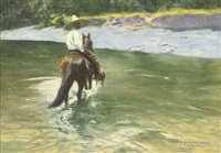 a mexican riding across a river by pierre ribera