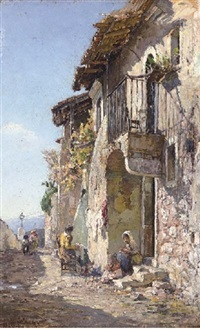 tending to the laundry on an italian street by angelo geleng